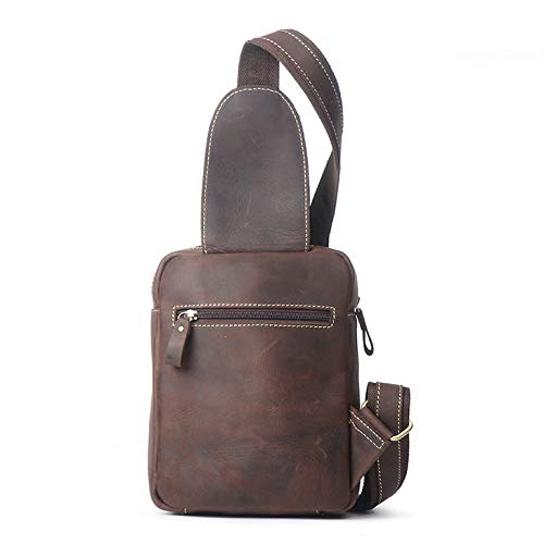 Coffee YChoice Fashion Mens Bag Mens Casual Leather Chest Bag Multifunction Outdoor Sports Crossbody Bag Fashion Shoulder Messenger Backpack