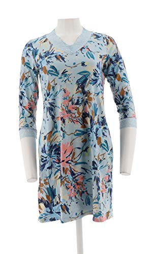 (Isaac Mizrahi Confetti Floral Print Sleep Dress Cloud Blue XS New)
