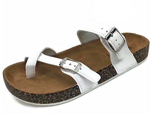 Double Slide New Anna Fashion Sole Cork Annas White Buckle Strap Women's Sandal 7FpyyWn