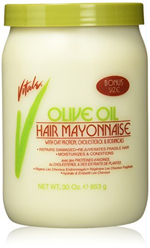 Vital Cream Mask - Vitale Olive Oil Hair Mayonnaise 30oz with Oat & Egg Protein and Vitamins - Good on Color & Thermal Treated Hair - for Dry & Damaged Scalp Men, Women & Kids -Moisturize and Condition