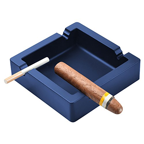 OILP Large Cigar Ashtray for Men Big Ashtrays for Cigarettes Dual-use Rest Unbreakable Silicone Ashtrays for Outdoor Indoor Ashtray Home Decor Modern Ashtray (Navy Blue) ()