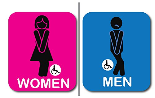 "2 pack Bathroom Signs, Funny and modern Restroom Signage for Office, Restaurant Night club or any Store – 7"" x 8"" With disable icon. by Pro Image"