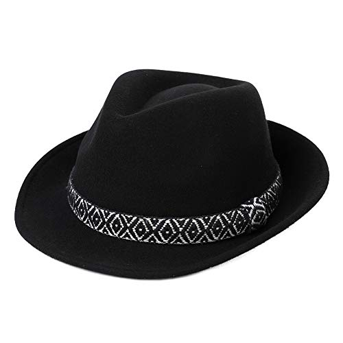 (Womens Winter 100% Wool 1920s Gatsby Fedora Gangster Derby Jazz Manhattan Hat for Men)
