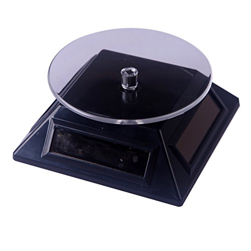 HDE Solar Powered Rotating Rotary Display Stand Turntable Collectible Show Case - Black