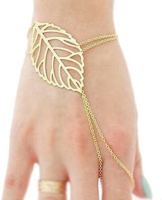 Mode Frauen Boho Charme Münze Anhänger Fingerring Sklave Kettenglied Armreif