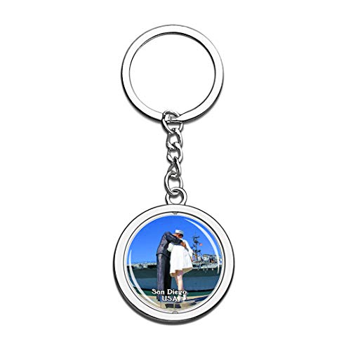 USA United States Keychain USS Midway Museum San Diego Key Chain 3D Crystal Spinning Round Stainless Steel Keychains Travel City Souvenirs Key Chain Ring ()