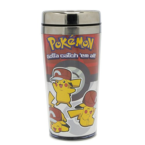 Silver Buffalo PK0987ST Pokemon Three Pikas Stainless Steel Travel Mug, 16-oz ()