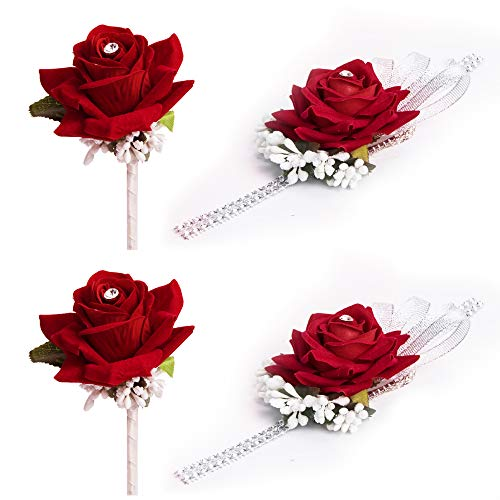 (YSBER Wedding Velvet Rose Rhinestone Corsage and Boutonniere Set Vintage Artificial Rose - 2 Sets Wine red)