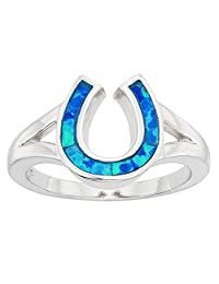Sterling Silver Created Blue Opal Horseshoe Ring