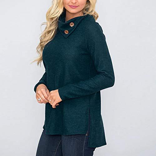 Tops Botton Long Skew XOWRTE Blouse Sleeve Women's Pullover Green Fall Collar Sweatshirt XvFqxtqw5