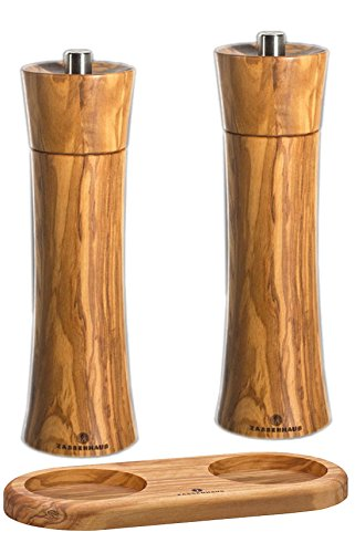 Zassenhaus Olive Pepper and Salt Mill Set 7.5-inch with Stand Zassenhaus Germany