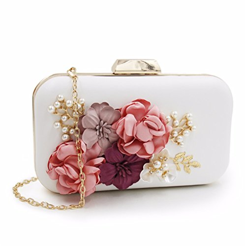 Ladies Blue Pearl Black Tanling Clutches Royal Clutch With Flower Bag Day Evening Women Purse Wedding Party Chain ww6Yxqvpg