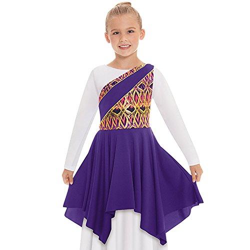 Eurotard 63567c Child Joyful Praise Asymmetrical Tunic (Purple, - Dance Liturgical Dresses