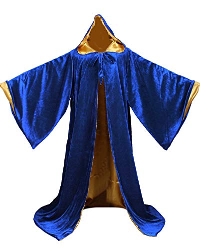 LuckyMjmy Velvet Wizard Robe with Satin Lined Hood and Sleeves (Royal.Blue-Gold) ()