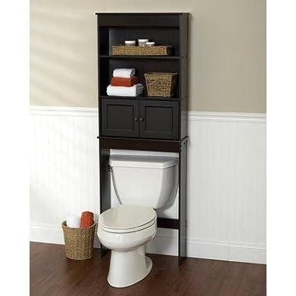 amazon com freestanding espresso space saver bathroom shelf black rh amazon com