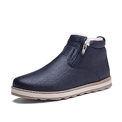Men's Winter Warm Plush Lining Boots Casual Leather High Top Ankle Snow Shoes