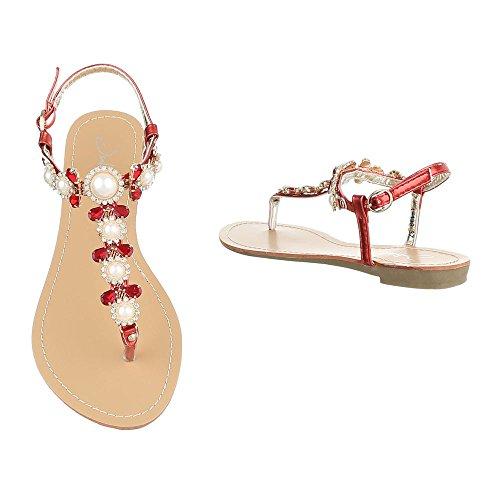 Ital-Design - Sandalias de vestir de Material Sintético para mujer Rojo