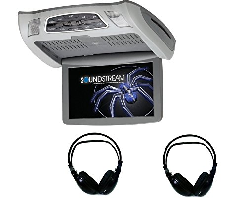 Soundstream VCM-103DM 10.3″ overhead high-resolution video monitor with built-in DVD player AWH201 Dual Channel Infrared Wireless Stereo Headphones