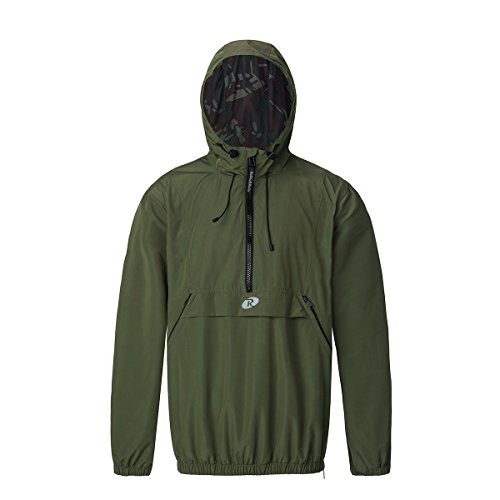 Rokka&Rolla Men's Water-Resistant Quick Dry Hooded Windbreaker Pullover Anorak Cycling Running Athletic Jacket Army Green