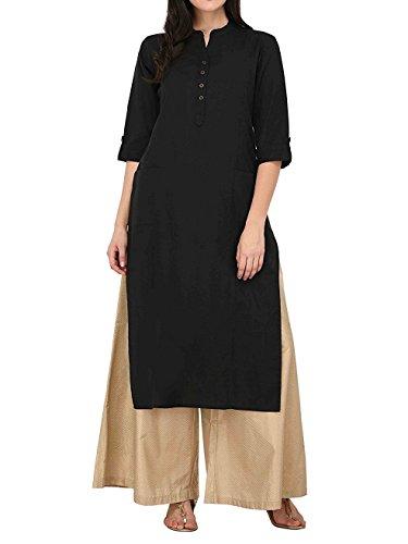 Women's Pure Cotton Plain Tunic Top 3/4 Sleeves Roll-UP Button Neck With Pocket Long Kurti Kurta, Chest: Body-32-33, Garment-36, Black
