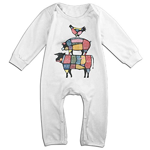 Baby Infant Romper Meat Stack Diagram Long Sleeve Playsuit Outfits White 24 (Carrot Costume Pattern)