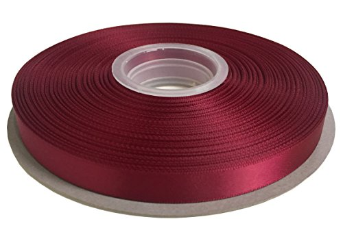 Duoqu 1/2 inch Wide Double Face Solid Satin Ribbon 50 Yards Roll Multiple Colors (Wine)