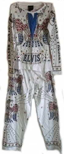 Elvis Presley Costume Jumpsuit Mens Pajamas [XL - White] ()