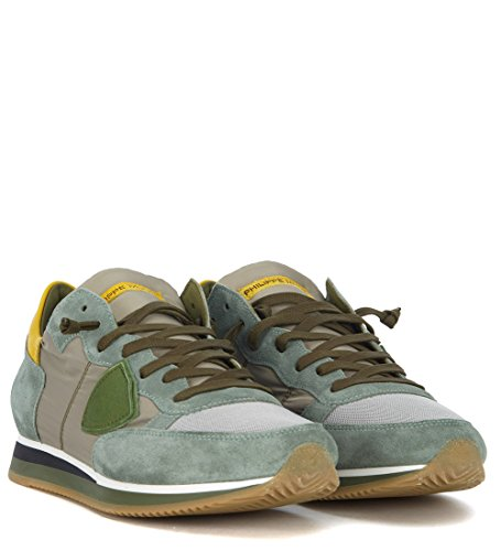 Sneaker Tropez Philippe E Camoscio Model Grigio Tessuto In Verde 5qvAOpvn