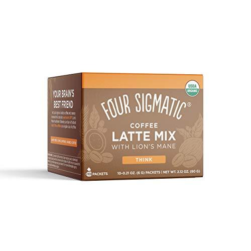 Four Sigmatic Mushroom Coffee Latte, Organic Instant Coffee Latte Mix with Lion's Mane, Chaga Mushrooms & Coconut Milk…