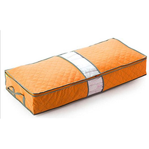 Bamboo Bedroom Armoire (Caveen Foldable Clothing Storage Bag Large Capacity Bamboo Charcoal Fiber Clothes Organizer Bags For Closet Wardrobe Bedroom Armoire Orange)