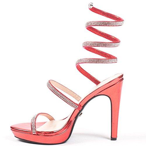 Ideal Shoes, Damen Sandalen Rot