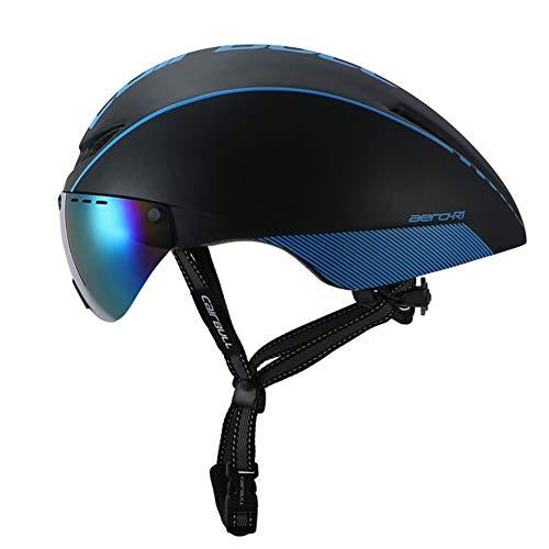 hAohAnwuyg Bike Helmet,Sports Equipment,CAIRBULL AERO-R1 MTB Road Cycling Bicycle Safety Helmet with Windproof Goggle - Black+Blue