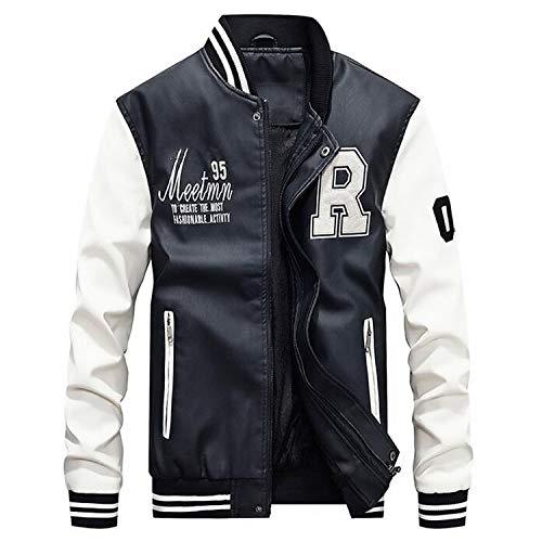 Amazon.com: Embroidery Baseball Jackets Men Letter Stand Collar Pu Leather Coats Fleece Pilot Leather Jacket: Clothing