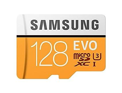 Samsung EVO - Tarjeta de Memoria microSD de 128 GB (MicroSDXC EVO, 128 GB, MicroSDXC, Clase 10, 100 MB/s, UHS-I, IPX7), Naranja/Blanco