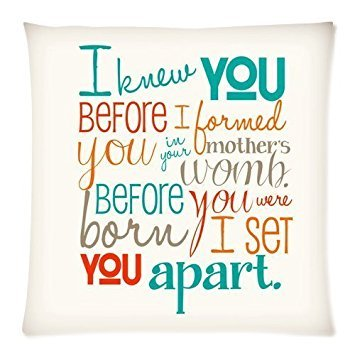 Custom Fashion Home Decor Bible Verse Square Throw Pillow Cover Cushion Case 18×18 (Twin sides)