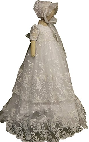 - Newdeve Round Neck Lace Beaded Christening Gown White Long with Bonnet (Newborn)