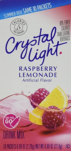 Crystal Light On The Go Raspberry Lemonade, 10-Packet Boxes (Pack of 4) (Go The On Fruit Light Punch Crystal)