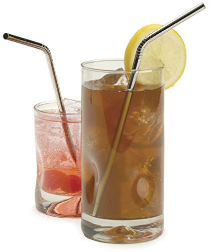 RSVP Endurance Stainless Steel Bent Drink Straws, Set of 4 (Steel Cup Stainless Julep)