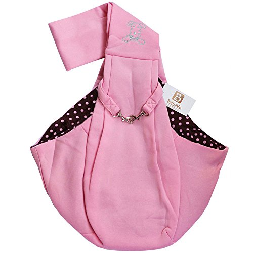 Pink Reversible Carrier - Bro'Bear i'Pet Hands-Free Reversible Small Dog-Cat Sling Carrier Bag Travel Tote Soft Comfortable Puppy/Kitty/Rabbit Double-Sided Pouch Shoulder Carry Tote Handbag, Pink