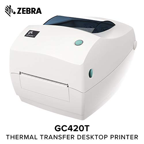 ZEBRA- GC420t Thermal Transfer Desktop Printer for Labels, Receipts, Barcodes, Tags, and Wrist Bands - Print Width of 4 in - USB, Serial, and Parallel Port Connectivity ()