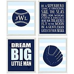 Baseball Nursery Wall Art, Baby Boy Room, Personalized Nursery Art,  Baseball Room Decor