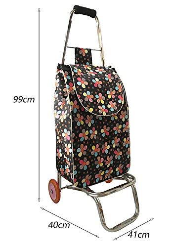 Zehaer Portable Trolley, ZGL Trolley Trolley Stainless Steel 2 Wheels Shopping Cart Groceries Pull Rod Car Portable Luggage Cart Pull Goods Folding Trailer Hand Car by Zehaer (Image #2)