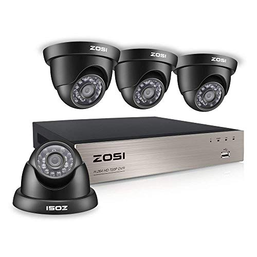 (ZOSI Home Security Camera System 4 Channel 1080N/720P DVR and (4) 720P Indoor Outdoor CCTV Dome Cameras NO Hard Drive, Smartphone& PC Easy Remote Access)