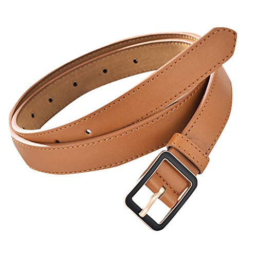 (Women Men Waistbelt Solid Color Casual Fashion Tactical Military Outdoor Work Leather Belt for Jeans Dress (E))