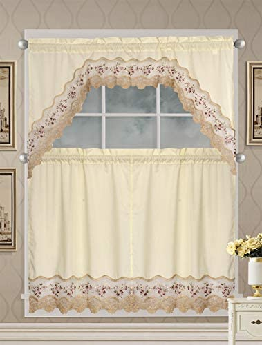 Luxury Home Collection 3 Piece Beige Embroidered Kitchen Window Curtain Set with 2 Tiers and 1 Valance 1092 Burgundy Beige