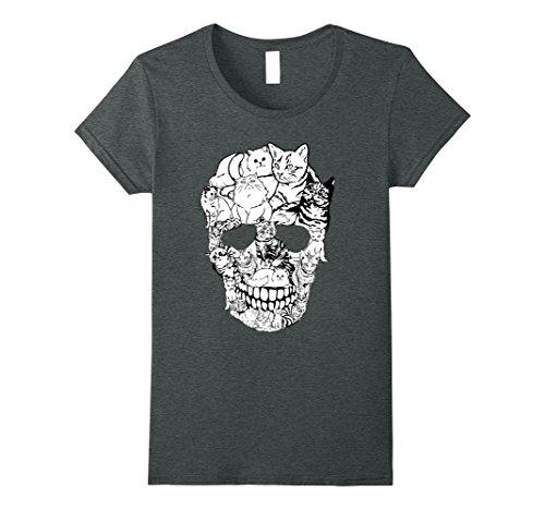 Womens Cat Skull T-Shirt - Kitty Skeleton Halloween Costume Idea Medium Dark (Dark Costumes Ideas Halloween)