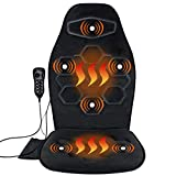 Comfitech Car Seat Back Massager Chair Pad Cushion with Heat, 6 Vibrating Motors for Office, Auto, Home (Black)