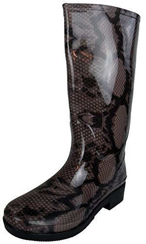 Cookies and Cream Ladies Wellington Boots Printed Rain Snow Winter Boot Wellies Size Womens UK 3-8 Brown Snake Print