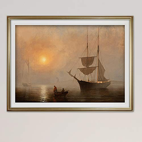 Renditions Gallery HAC17M-1033-2436GF Ship in Fog, Gloucester Harbor Contemporary Art Landscape Nautical Artwork Seascape Paintings Framed Wall Decor, 30 x 40, Gold