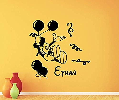 Personalized Mickey Holiday Mouse (Personalized Mickey Mouse Wall Decal Balloons Holiday Boy Custom Name Walt Disney Cartoons Vinyl Sticker Baby Girl Boy Customized Kids Room Wall Art Bedroom Nursery Wall Decor Mural 107PS)
